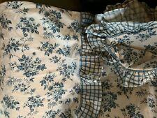 WAVERLY GARDEN ROOM RUFFLED FULL FLAT SHEET NEWPORT BLUE & 1 PILLOWCASE