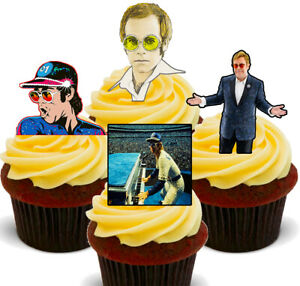 Elton John Rocketman Pack of 12 Edible Cup Cake Toppers, Fairy Bun Decorations