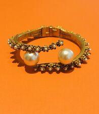 Florenza Gold Tone Pearl Bangle Bracelet