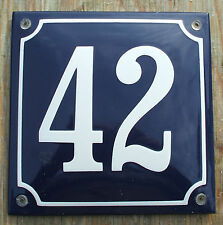 FRENCH ENAMEL HOUSE NUMBER SIGN. WHITE No.42 ON A BLUE BACKGROUND 16x16cm.