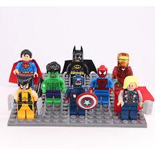 8 Pcs Set Super Hero Batman wolverine Hulk minifigure fit Lego COME WITH BOARD