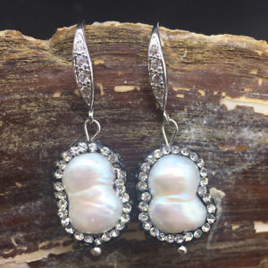 Unique White Luster Pearl 13x20mm Black Crystal Pave Bling Dangle Earrings Women