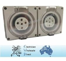 2 x 5 Pin 50 Amp 3 phase Socket Outlet IP66 Weatherproof Industrial Pole Only