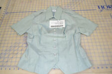 womens shirt short sleeve 8S green 415 AG  military army dress blouse top