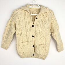 Unbranded Handmade Kids Wool Knitted Cardigan Sweater Ivory Size 7 8 9 MEASURED