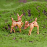 2Pcs Lovely Couple Deer Mini Craft Micro Landscape Bonsai Garden Home Decor GIL
