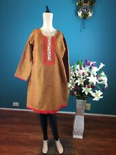 "44"" XL Kurthy Kurti Top Tunic Kaftan Bollywood Indian Cotton Brown Red B36"