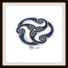 Celtic Trinity Knot & Spirale ~ bleu émail écharpe Anneau ~ from Sea Gems ~