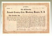 Altwold Country Club, Woodbury Heights Stock Certificate