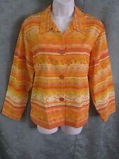Coldwater Creek Shirt Jacket Size Medium Cheerful Floral & Stripe 100% Cotton