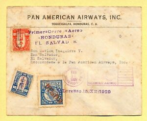 Honduras = First air mail flight cover to El Salvador in 1929 by Pan American
