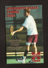 Mississippi State Bulldogs--2002 Tennis Pocket Schedule--AmSouth Bank/Oby's