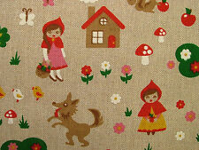 Little Red Riding Hood Natural Linen Look Fabric - Curtain Upholstery Quilting