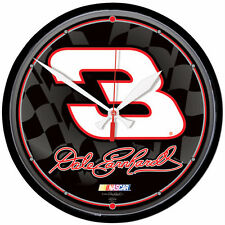 "DALE EARNHARDT #3 NASCAR 12"" ROUND QUARTZ CLOCK"