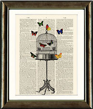 Antique Book page Art Print - Butterfly Bird Cage Vintage Dictionary Wall Art