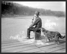1922 Antique View, GOLDEN RETRIEVER, Dog, Fishing, Pipe, Mountain lake, 20x16