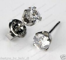 Ear Piercing Studs Earrings Silver 5mm Clear CZ Stainless Steel Studex System 75