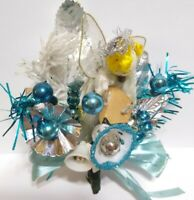 Vtg Christmas Corsage BLUE Indent Mercury Glass Beads Silver ANGEL package tie
