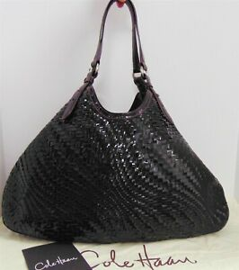 Cole Haan Genevieve Eggplant Woven Patent Leather XL Triangle Tote Shoulder Bag