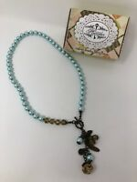 Plunder JULIE Necklace Blue Pearl Oversize Chunky Antique Bronze Dangle Beads