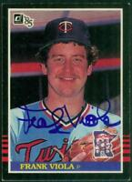 Original Autograph of Frank Viola of the Twins on a 1985 Donruss Card