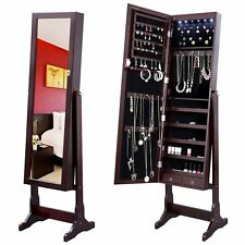 Lockable Jewelry Cabinet Standing Jewelry Armoire Organizer with Mirror LED