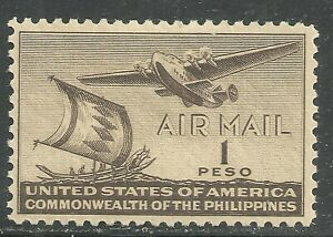 U.S. Possession Philippines Airmail stamp scott c62 - 1 peso 1941 issue mlh - 6x