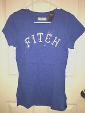 NWT Abercrombie & Fitch Shine Sequin Embellishment Logo Tee T Shirt Top Blue L