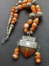 Vintage Moroccan Old Carnelian handmade necklace with Tuareg Silver Pendant.