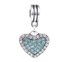 925 Silver Love Heart White blue CZ Pendant Charm Bead Fit Sterling Bracelet