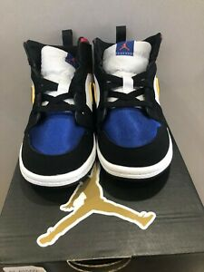 Nike Air Jordan 1 Mid SE Toddler Lakers Purple Black White Blue BQ6933-005 Sz 8C