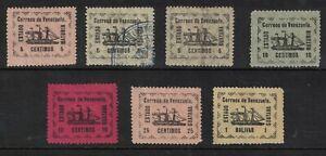 venezuela stamps - 1903 estado guayana/maturin issues mint h / used HCV good lot