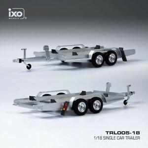 1:18th Car Trailer / carrier DOUBLE AXLE TRAILER silver IXO TRL005-18 18th scale