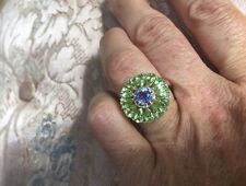 Vintage Genuine Peridot And Iolite 925 Sterling Silver Size 5 Flower Ring