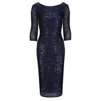Stunning Navy Blue Sequin 3/4 Sleeve Bodycon Pencil Wiggle Party Dress UK 8-18