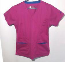 BIO S Sm Raspberry Pink Blue V Neck Mock Wrap Princess Seams 3 Pocket
