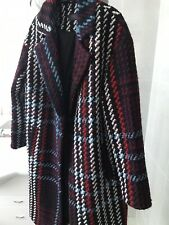 M&S bright checked tartan boucle wool blend long winter coat SIZE 14