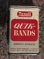 Vintage Rexall Quick-Bands Bandages Tin With Original Bandages!
