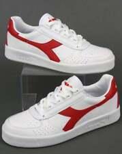 Diadora Borg Elite Trainers in White & Red - B Elite Leather retro tennis shoe