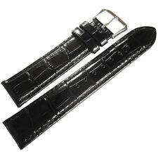 19mm deBeer Mens Black Crocodile-Grain Leather Matching Stitch Watch Band Strap