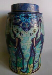 WILLIAMSON Elephant Tea Caddy Tin  - Snowflakes & Trees