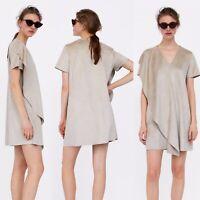 Zara Faux Suede Ruffle Dress Layered Lagenlook Beige Short Mini XS 6 8 UK