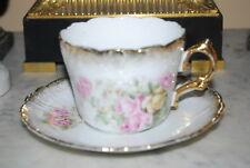WONDERFUL OLD SILESIA GERMANY FLOWER DECORATED GLITZY LARGE COFFEE CUP & SAUCER