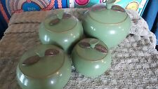 Vintage Green Aluminum Apple Canisters Mid Century Modern Kitchen Set 4 Canister