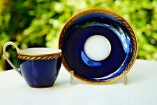 KPM Berlin  kobalt blau handpainted jugendstil art nouveau cup with saucer