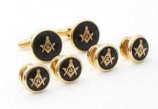NEW Masonic Black Gold Cufflinks Studs Mason Retail boxed set. Shirt Cuff links