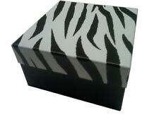 "100 Cotton Filled Square Boxes Zebra Print  Size 34. Dimensions 3.5"" x 3.5"" x 2"""