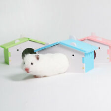 FM_ HB- Small Pet Hamster Mice Squirrel Wooden Sleeping House Nest Toy Lovely Ca