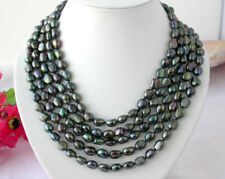 "natural Long 100"" 8-9mm baroque black peacock  pearl NECKLACE AA beautiful"