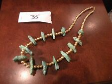 RARE TURQUOISE VINTAGE NAVAJO NECKLACE NUGGETS with gold beads Jewerly A35